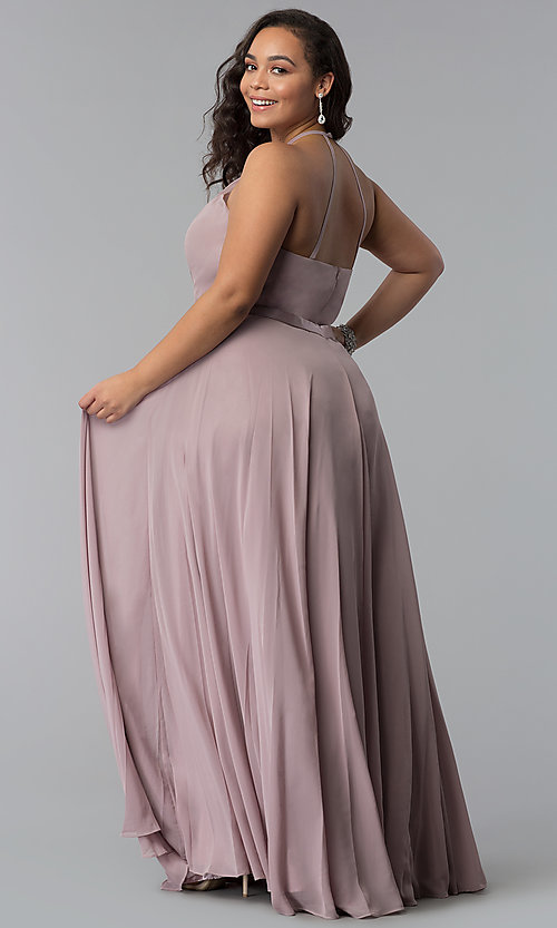 Image of long plus-size chiffon high-neck prom dress. Style: DQ-2176P Back Image