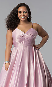 Image of plus-size a-line long satin prom dress with pleats. Style: DQ-2339P Detail Image 5