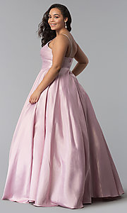Image of plus-size a-line long satin prom dress with pleats. Style: DQ-2339P Detail Image 4