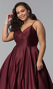 Image of plus-size a-line long satin prom dress with pleats. Style: DQ-2339P Detail Image 8