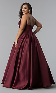 Image of plus-size a-line long satin prom dress with pleats. Style: DQ-2339P Detail Image 7