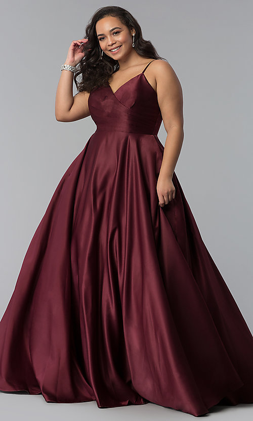 Image of plus-size a-line long satin prom dress with pleats. Style: DQ-2339P Detail Image 6