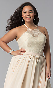 Image of long plus-size lace-bodice prom dress. Style: DQ-2009P Detail Image 1