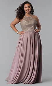 Image of long plus-size lace-bodice prom dress. Style: DQ-2009P Detail Image 6