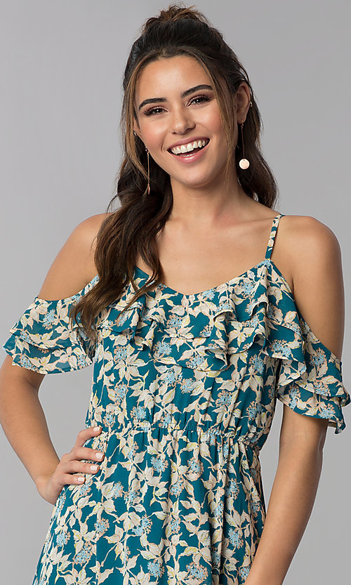 Image of teal blue cold-shoulder casual maxi dress with print. Style: BLH-BD1606 Detail Image 1