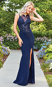 Image of open-back Clarisse prom dress with sheer bodice. Style: CLA-3572 Detail Image 2