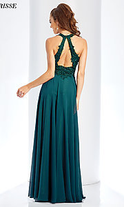 Image of long high-neck prom dress with embroidery. Style: CLA-3528 Back Image