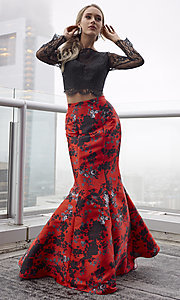 Image of long red print formal dress with long sleeves. Style: CLA-4808 Front Image