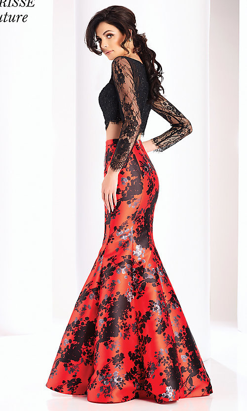 Image of long red print formal dress with long sleeves. Style: CLA-4808 Back Image