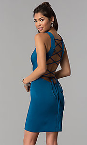 Image of corset-tie-back short sheath homecoming dress. Style: DJ-A3690 Front Image