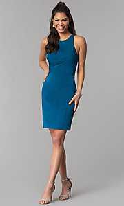 Image of corset-tie-back short sheath homecoming dress. Style: DJ-A3690 Detail Image 3