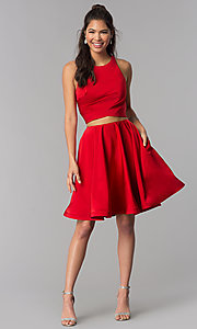 Image of short two-piece homecoming dress by Dave and Johnny. Style: DJ-A3688 Detail Image 3