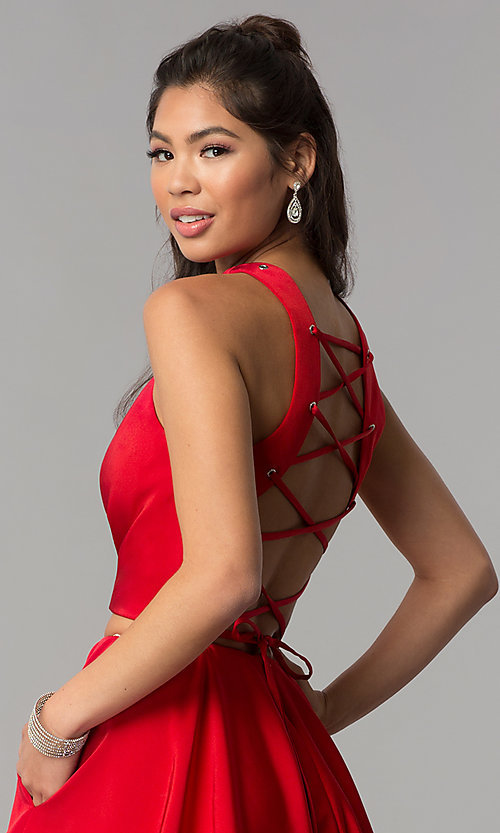 Image of short two-piece homecoming dress by Dave and Johnny. Style: DJ-A3688 Detail Image 2
