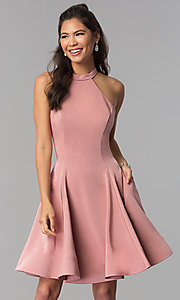 Image of high-neck short homecoming dress by Dave and Johnny. Style: DJ-A3645 Detail Image 1