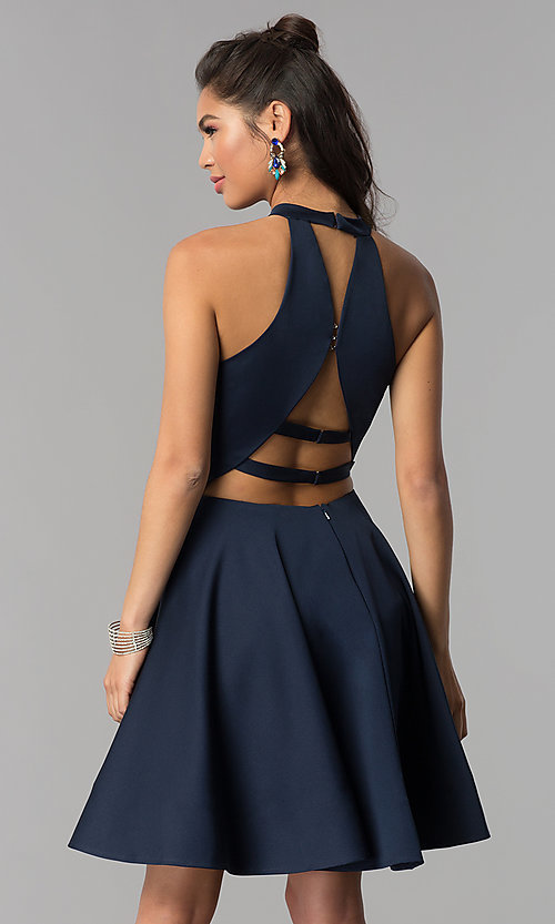 Image of high-neck short homecoming dress by Dave and Johnny. Style: DJ-A3645 Detail Image 3