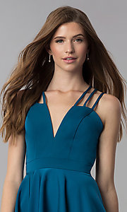 Image of short teal homecoming dress with triple straps. Style: DJ-A3644 Detail Image 1