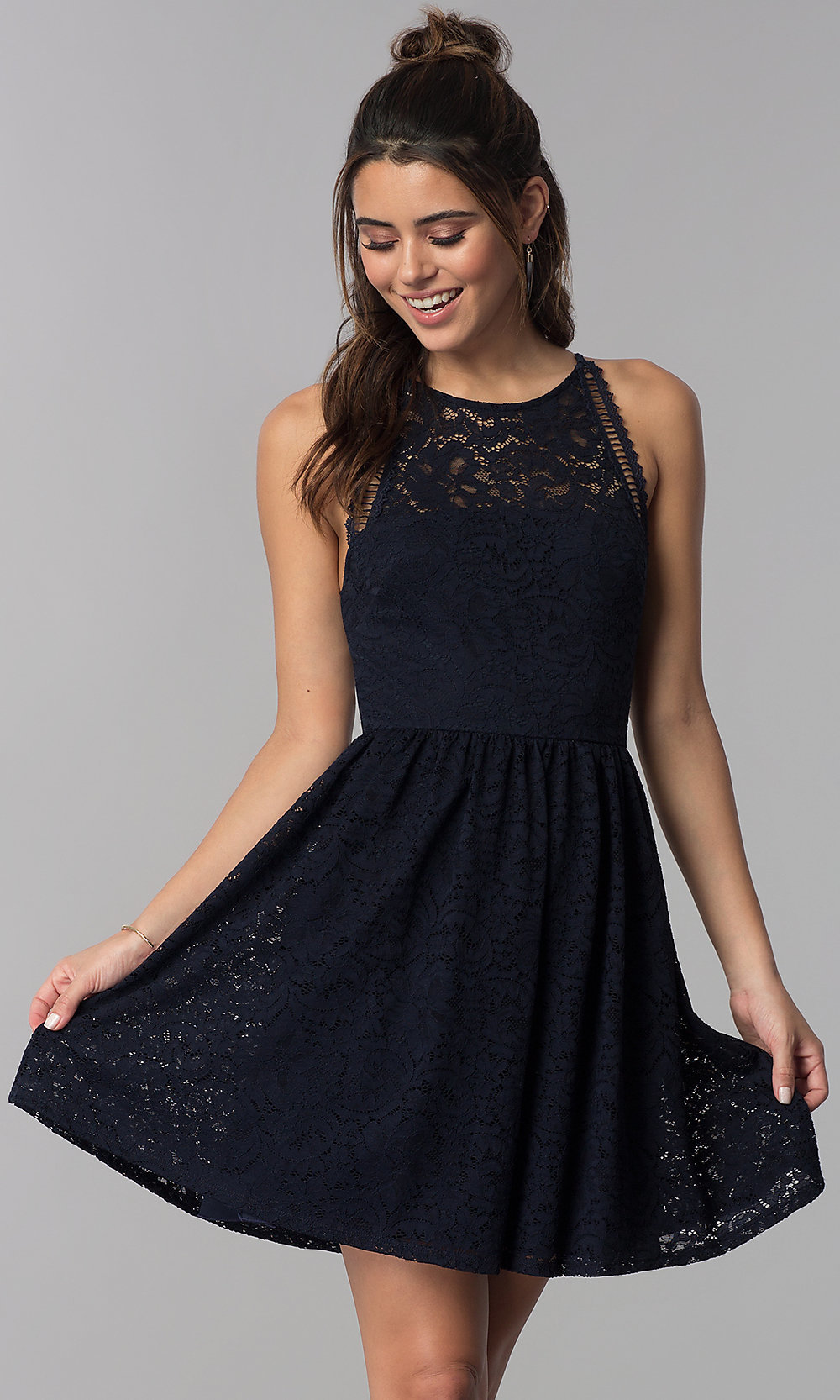 Navy Blue Short Wedding Guest Lace Dress Promgirl