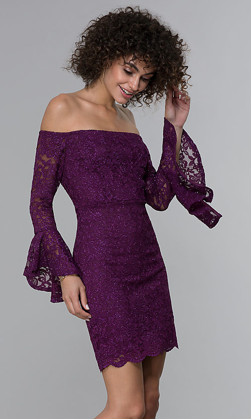 Image of glitter short lace off-the-shoulder party dress. Style: JU-10803 Front Image