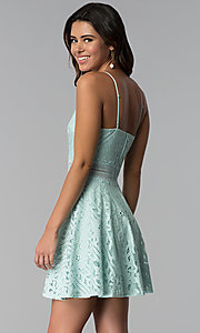 Image of short aqua green high-neck lace party dress. Style: CT-3412KC2DT1 Back Image
