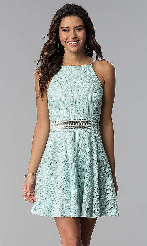 Image of short aqua green high-neck lace party dress. Style: CT-3412KC2DT1 Front Image