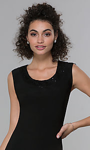 Image of sleeveless short black MOB dress with jacket. Style: MO-3515 Detail Image 1