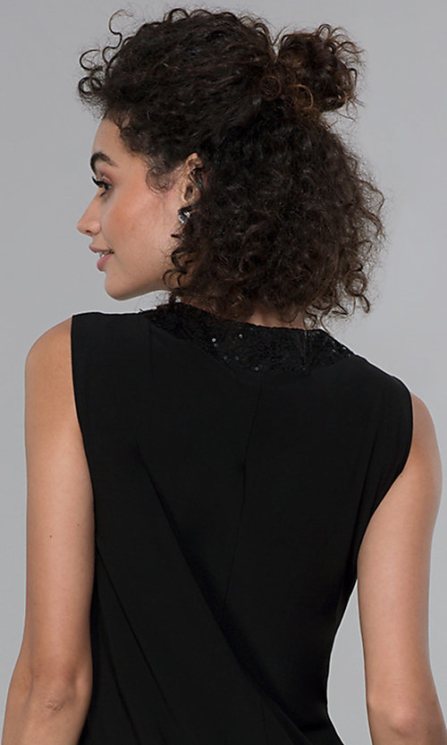 Image of sleeveless short black MOB dress with jacket. Style: MO-3515 Detail Image 2