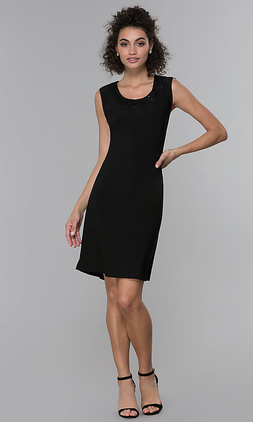 Image of sleeveless short black MOB dress with jacket. Style: MO-3515 Detail Image 3