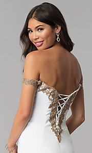 Image of homecoming off-shoulder Faviana dress with beading. Style: FA-S10152 Detail Image 2