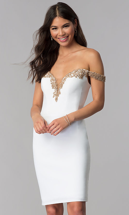 Image of homecoming off-shoulder Faviana dress with beading. Style: FA-S10152 Back Image
