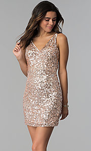 Image of short sequin cocktail party dress by PromGirl. Style: PV-PL-111 Detail Image 1
