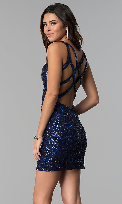 Image of short sequin cocktail party dress by PromGirl. Style: PV-PL-111 Detail Image 5