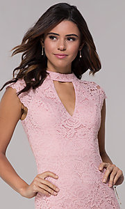 Image of cap-sleeve lace sheath wedding guest dress. Style: LP-27716 Detail Image 6