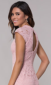 Image of cap-sleeve lace sheath wedding guest dress. Style: LP-27716 Detail Image 7