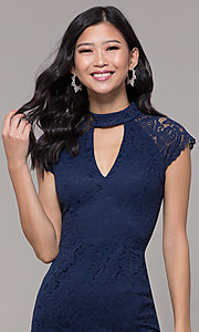 Image of cap-sleeve lace sheath wedding guest dress. Style: LP-27716 Detail Image 1