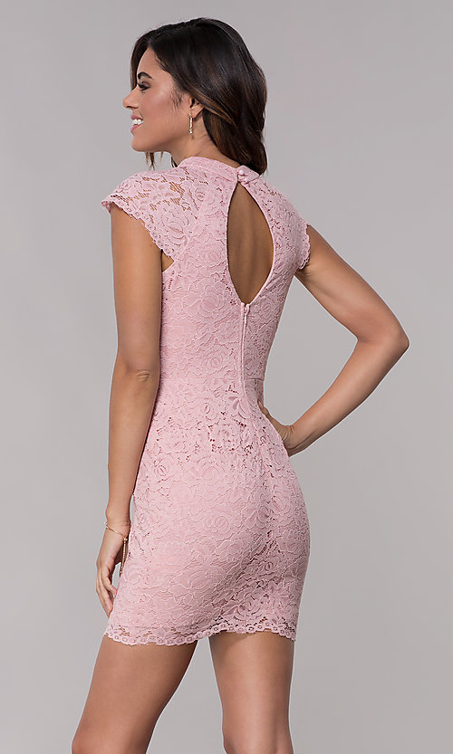 Image of cap-sleeve lace sheath wedding guest dress. Style: LP-27716 Detail Image 5
