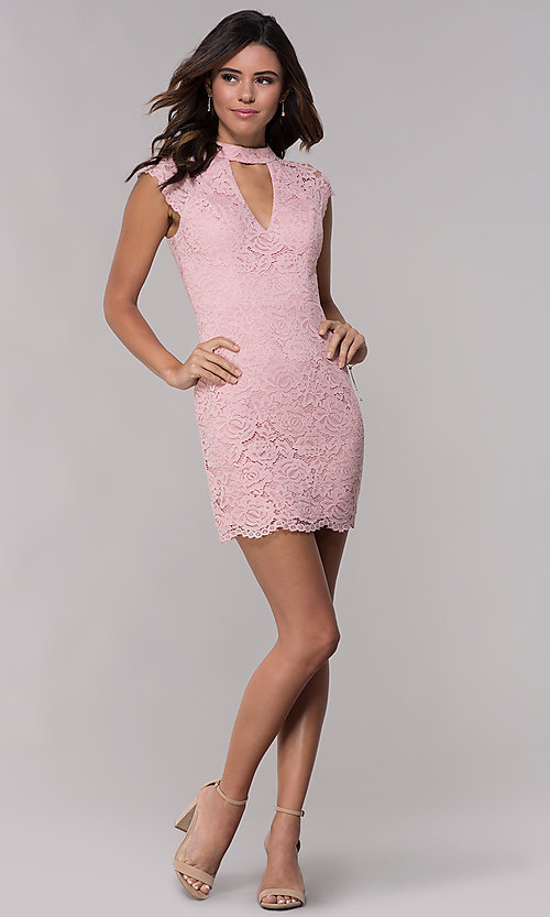 Image of cap-sleeve lace sheath wedding guest dress. Style: LP-27716 Detail Image 8