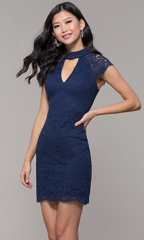 Image of cap-sleeve lace sheath wedding guest dress. Style: LP-27716 Front Image