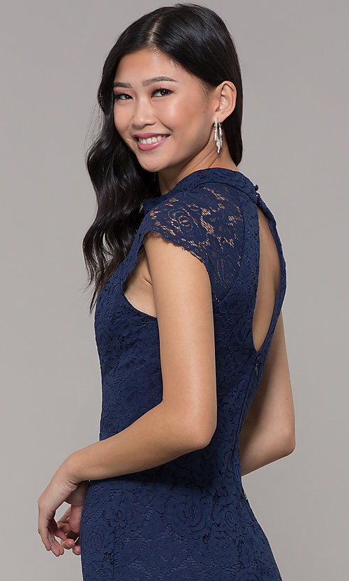 Image of cap-sleeve lace sheath wedding guest dress. Style: LP-27716 Detail Image 2