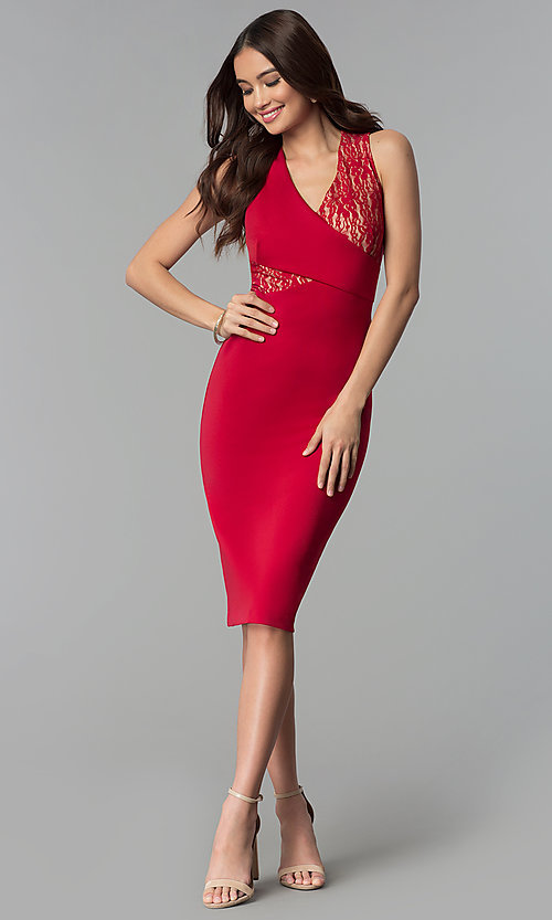 Image of lace-panel v-neck knee-length wedding guest dress. Style: ECI-719254-45535A Detail Image 3
