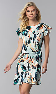 Image of short floral-print wedding-guest faux-wrap dress. Style: ECI-720278-75739A Front Image