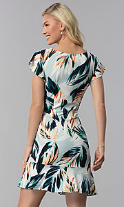 Image of short floral-print wedding-guest faux-wrap dress. Style: ECI-720278-75739A Back Image