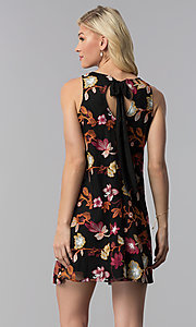 Image of short floral-embroidered shift wedding guest dress. Style: ECI-718935-50080A Back Image