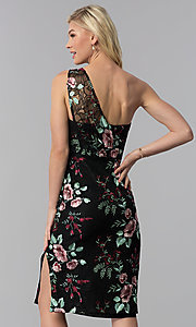 Image of black embroidered one-shoulder party dress. Style: ECI-519387-7731 Back Image