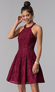 Image of lace a-line short burgundy homecoming party dress. Style: CT-3579PY1BT3 Detail Image 1