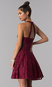 Image of lace a-line short burgundy homecoming party dress. Style: CT-3579PY1BT3 Back Image