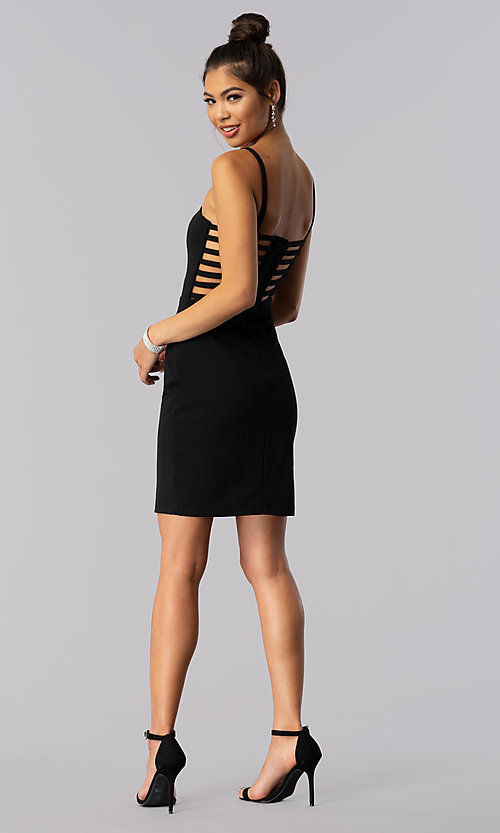 Image of caged-open-back short black homecoming party dress. Style: CT-7711QC7AT3 Detail Image 3