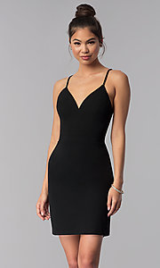Image of short black lace-racerback homecoming dress. Style: CT-7711XW7BT3 Front Image