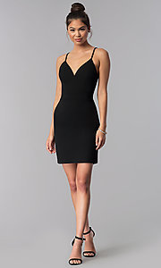 Image of short black lace-racerback homecoming dress. Style: CT-7711XW7BT3 Detail Image 3