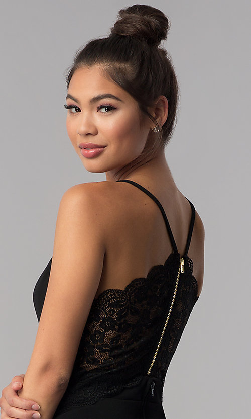 Image of short black lace-racerback homecoming dress. Style: CT-7711XW7BT3 Detail Image 2