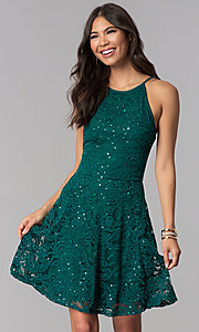 Image of short lace homecoming a-line dress. Style: EM-DPS-3822-304 Front Image